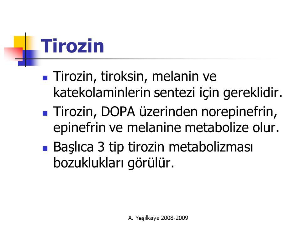 Tirozin Tirozin, tiroksin, melanin ve katekolaminlerin sentezi için gereklidir.