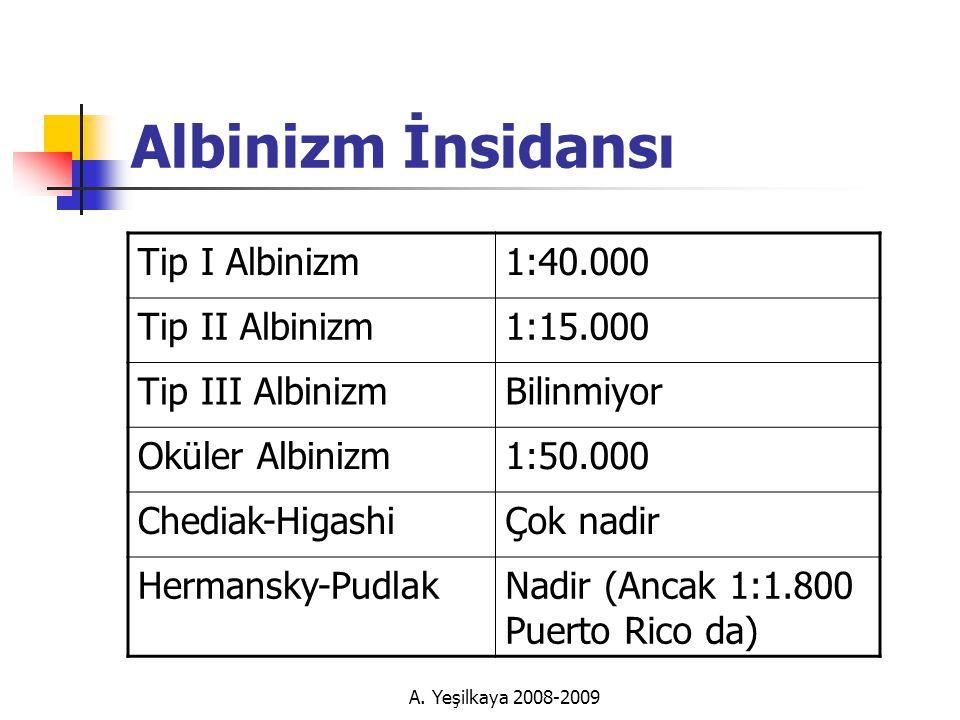 Albinizm İnsidansı Tip I Albinizm 1:40.000 Tip II Albinizm 1:15.000