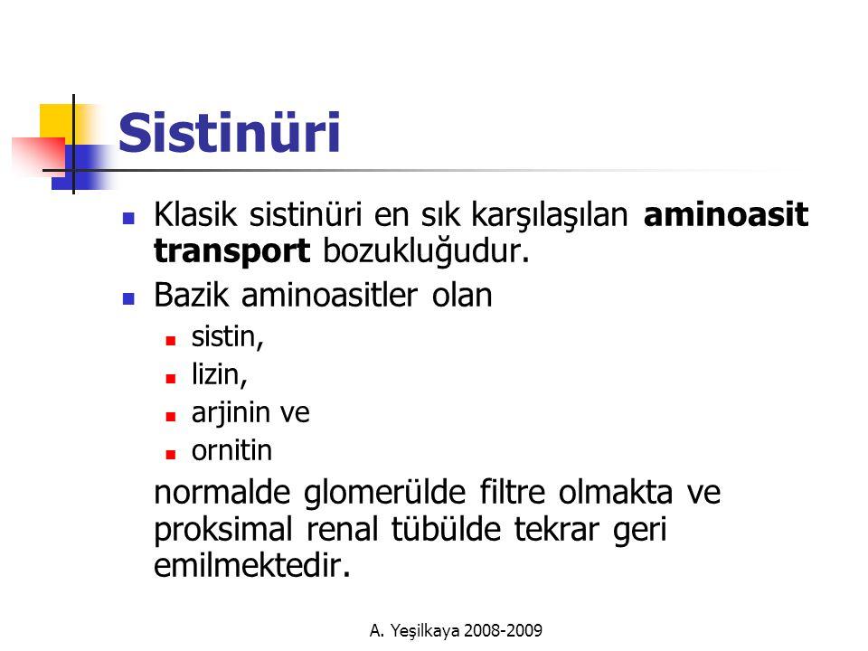 Sistinüri Klasik sistinüri en sık karşılaşılan aminoasit transport bozukluğudur. Bazik aminoasitler olan.
