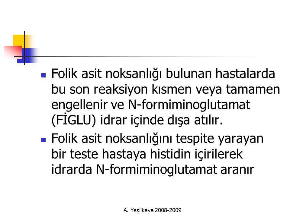 Folik asit noksanlığı bulunan hastalarda bu son reaksiyon kısmen veya tamamen engellenir ve N-formiminoglutamat (FİGLU) idrar içinde dışa atılır.