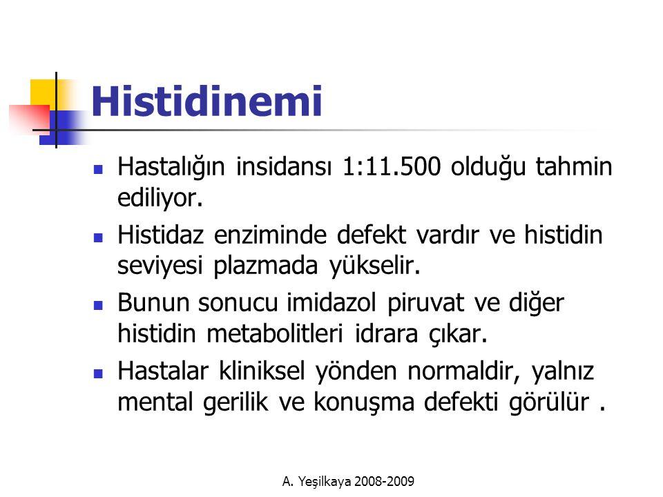 Histidinemi Hastalığın insidansı 1:11.500 olduğu tahmin ediliyor.