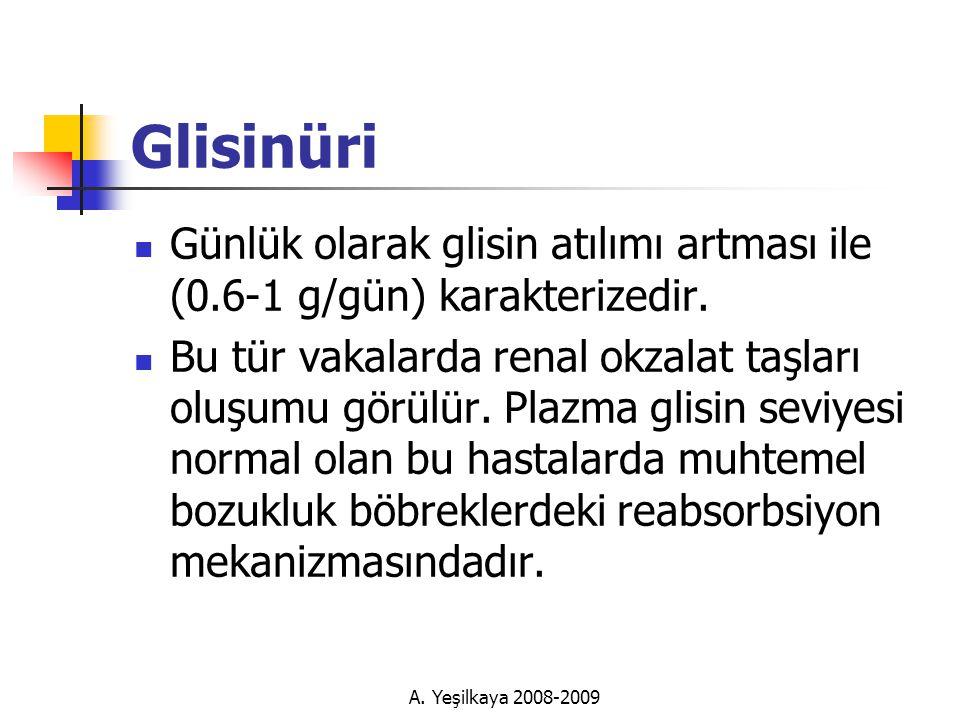 Glisinüri Günlük olarak glisin atılımı artması ile (0.6-1 g/gün) karakterizedir.