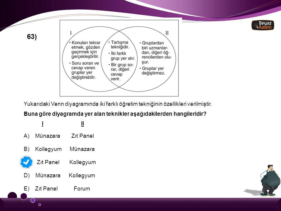 63) 63) Yukarıdaki Venn diyagramında iki farklı öğretim tekniğinin özellikleri verilmiştir.