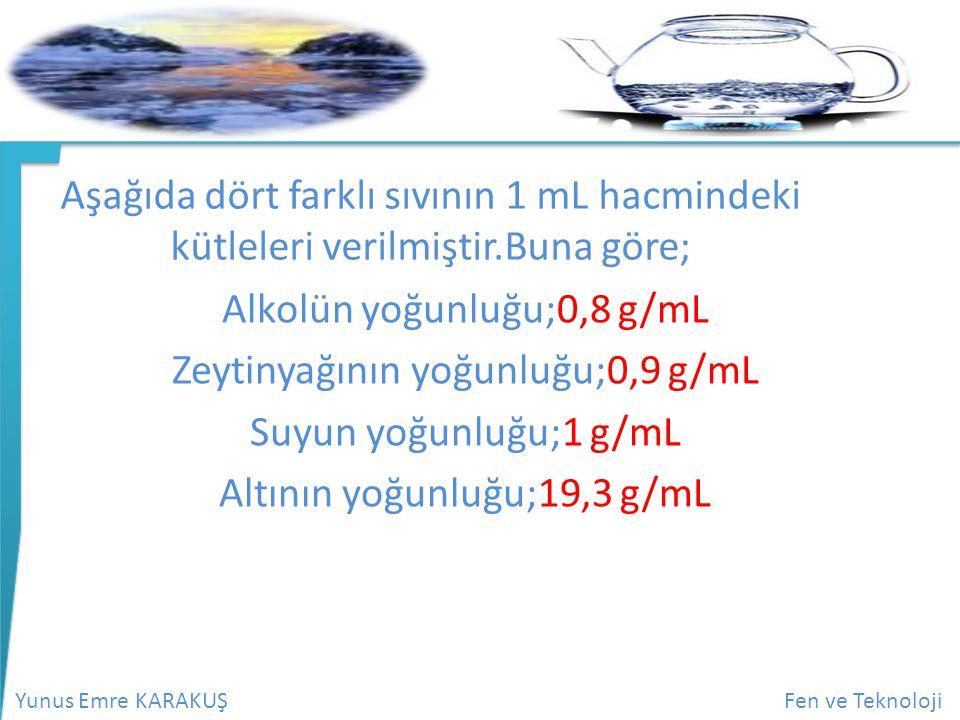 Alkolün yoğunluğu;0,8 g/mL Zeytinyağının yoğunluğu;0,9 g/mL