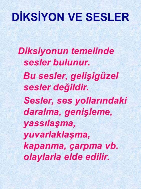 DİKSİYON VE SESLER