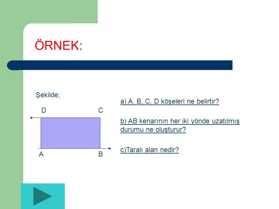 ÖRNEK: Şekilde; A B C D a) A, B, C, D köşeleri ne belirtir