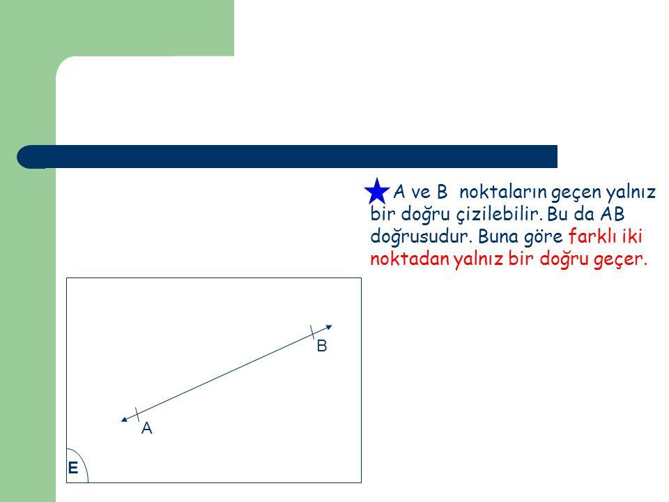 A ve B noktaların geçen yalnız bir doğru çizilebilir