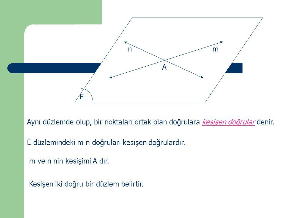 m n. A. E. Aynı düzlemde olup, bir noktaları ortak olan doğrulara kesişen doğrular denir. E düzlemindeki m n doğruları kesişen doğrulardır.