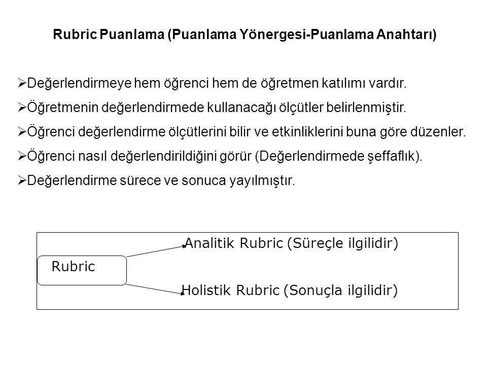 Rubric Puanlama (Puanlama Yönergesi-Puanlama Anahtarı)