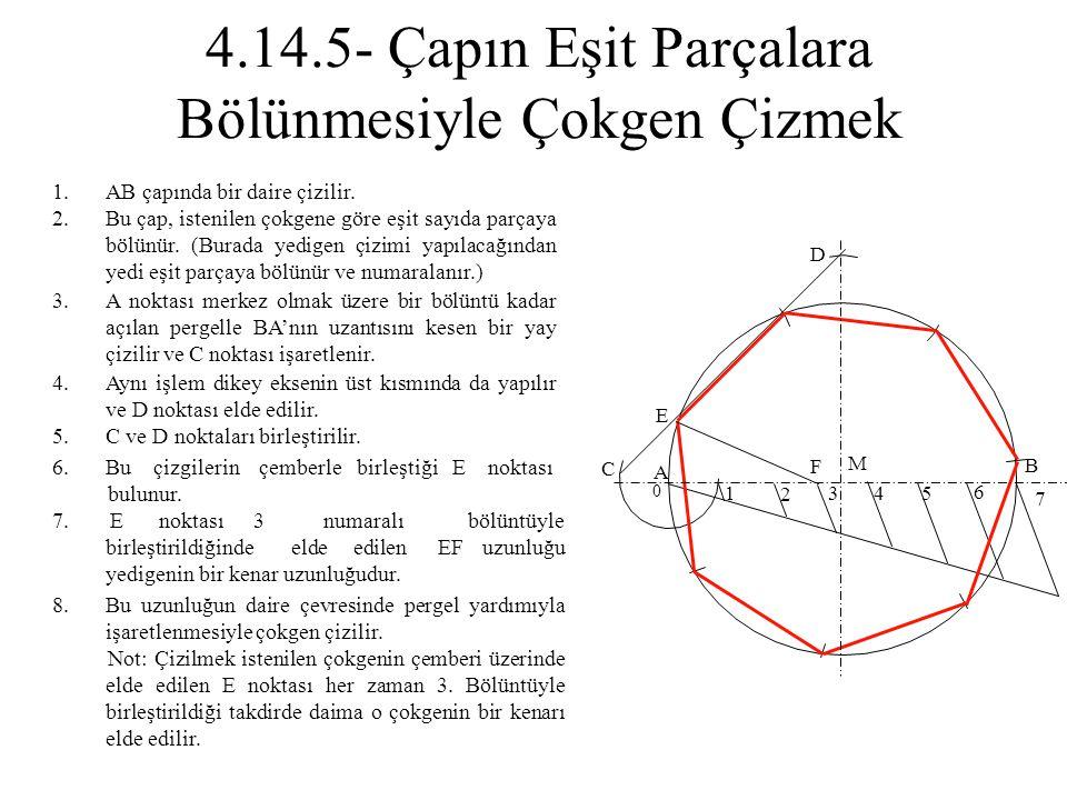 4.14.5- Çapın Eşit Parçalara Bölünmesiyle Çokgen Çizmek