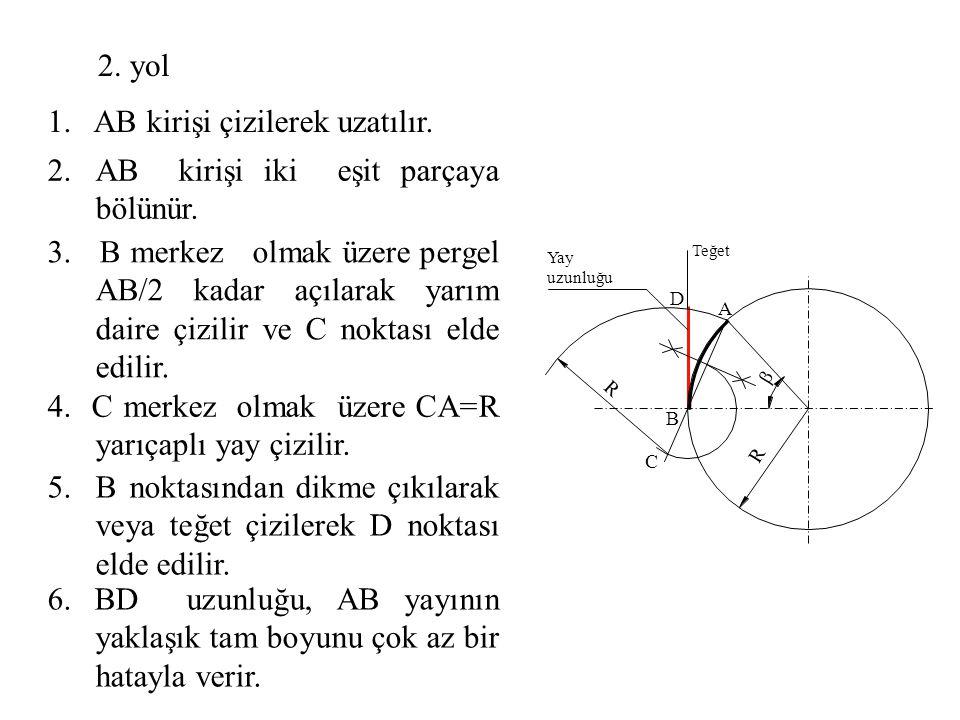 1. AB kirişi çizilerek uzatılır.
