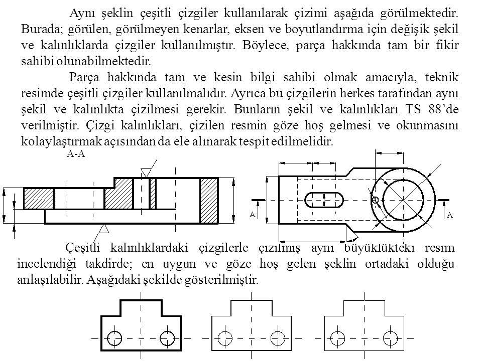 Aynı şeklin çeşitli çizgiler kullanılarak çizimi aşağıda görülmektedir
