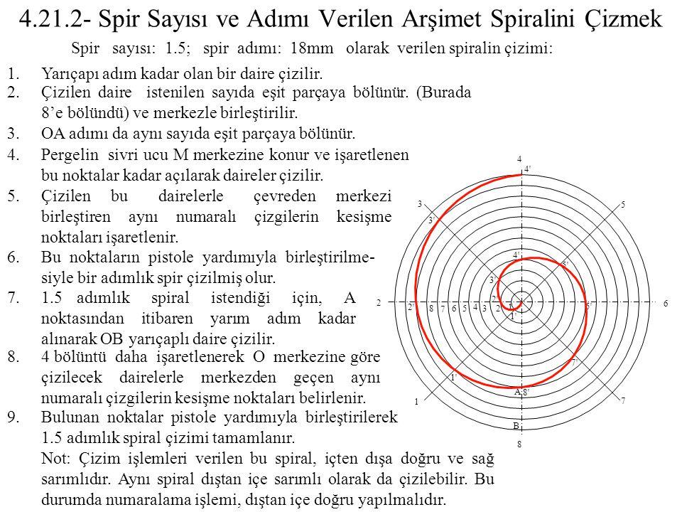 4.21.2- Spir Sayısı ve Adımı Verilen Arşimet Spiralini Çizmek