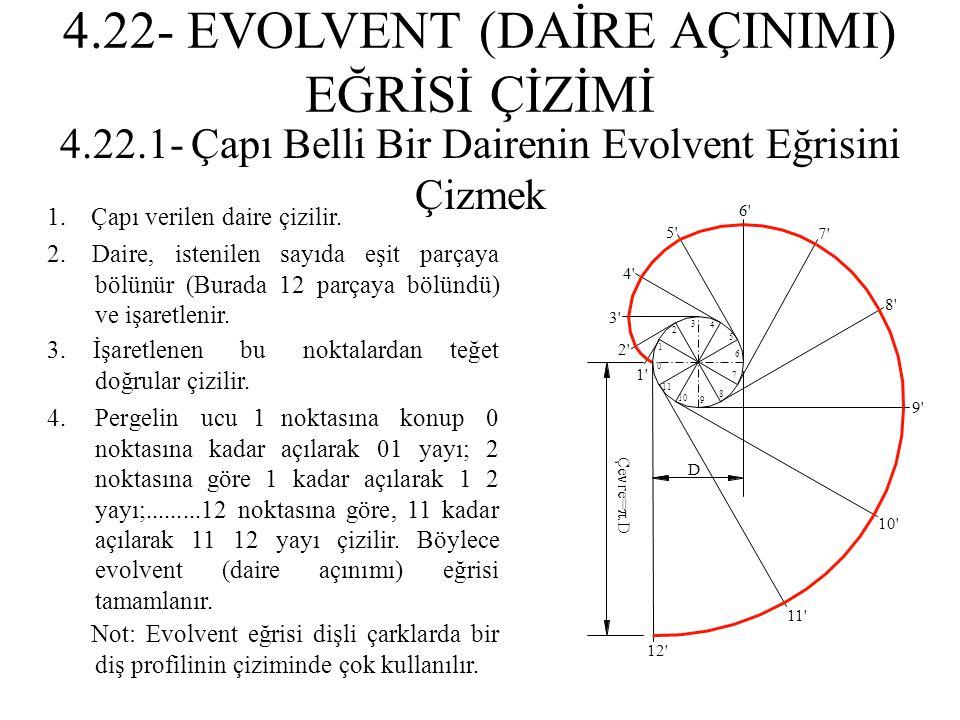 4.22.1- Çapı Belli Bir Dairenin Evolvent Eğrisini Çizmek