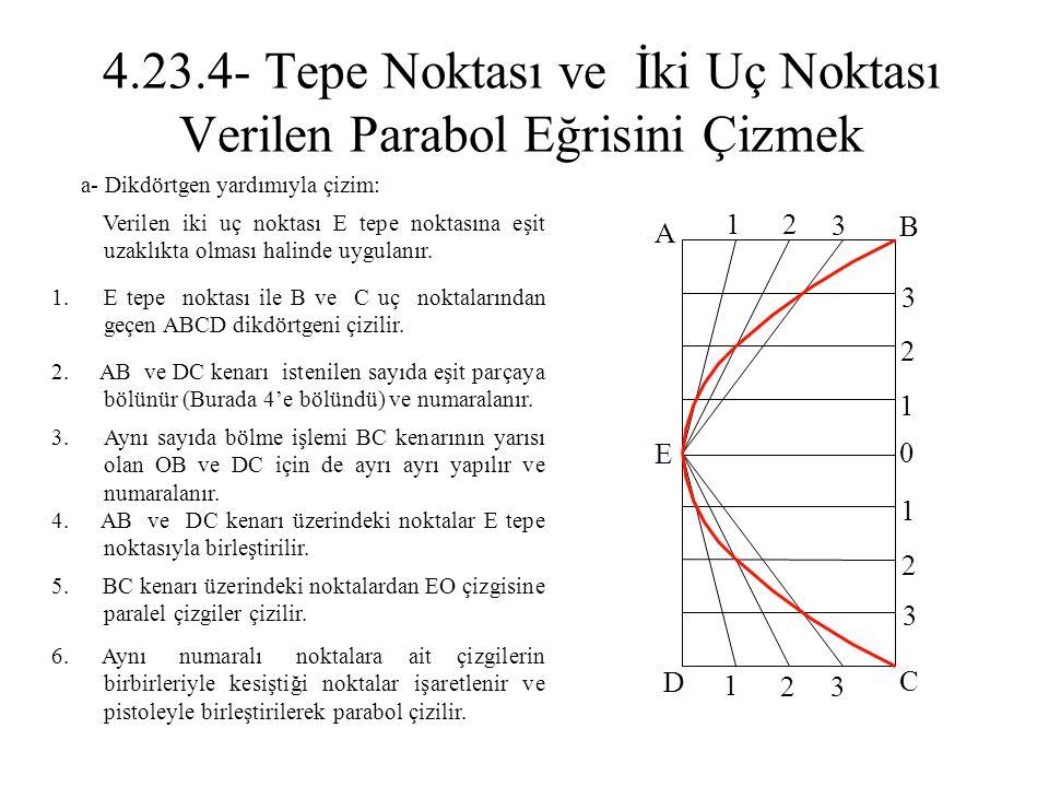 4.23.4- Tepe Noktası ve İki Uç Noktası Verilen Parabol Eğrisini Çizmek