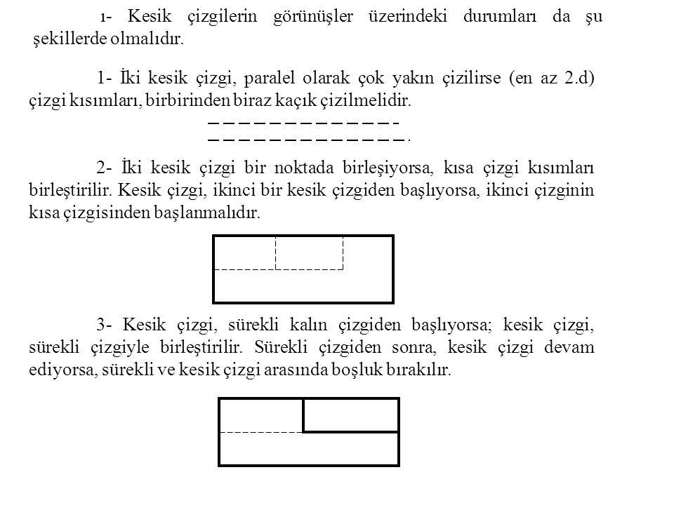 ı- Kesik çizgilerin görünüşler üzerindeki durumları da şu şekillerde olmalıdır.