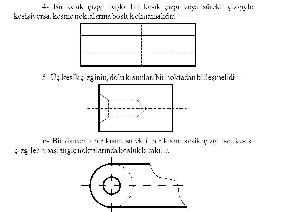 4- Bir kesik çizgi, başka bir kesik çizgi veya sürekli çizgiyle kesişiyorsa, kesme noktalarına boşluk olmamalıdır.
