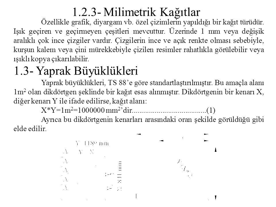 1.2.3- Milimetrik Kağıtlar 1.3- Yaprak Büyüklükleri
