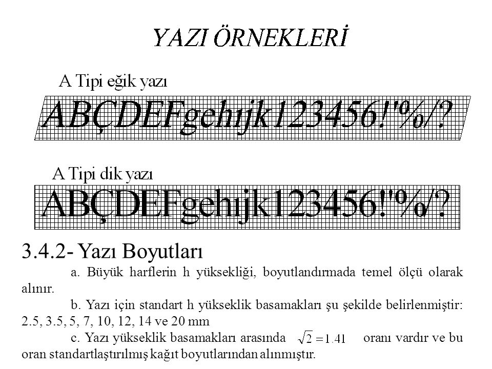 3.4.2- Yazı Boyutları a. Büyük harflerin h yüksekliği, boyutlandırmada temel ölçü olarak alınır.