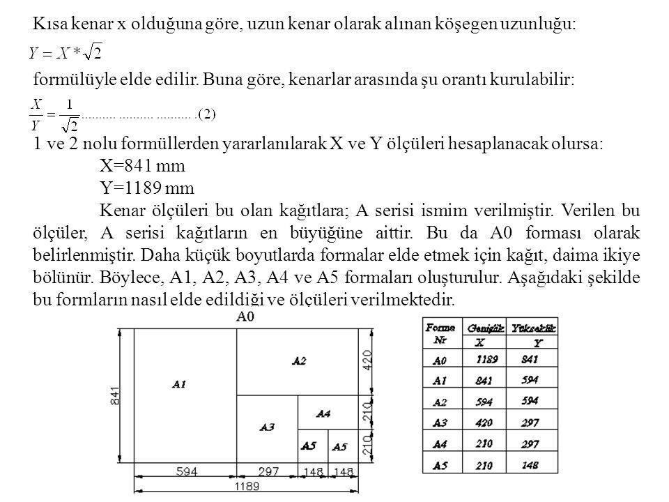 Kısa kenar x olduğuna göre, uzun kenar olarak alınan köşegen uzunluğu: