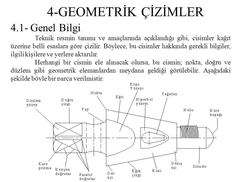 4-GEOMETRİK ÇİZİMLER 4.1- Genel Bilgi