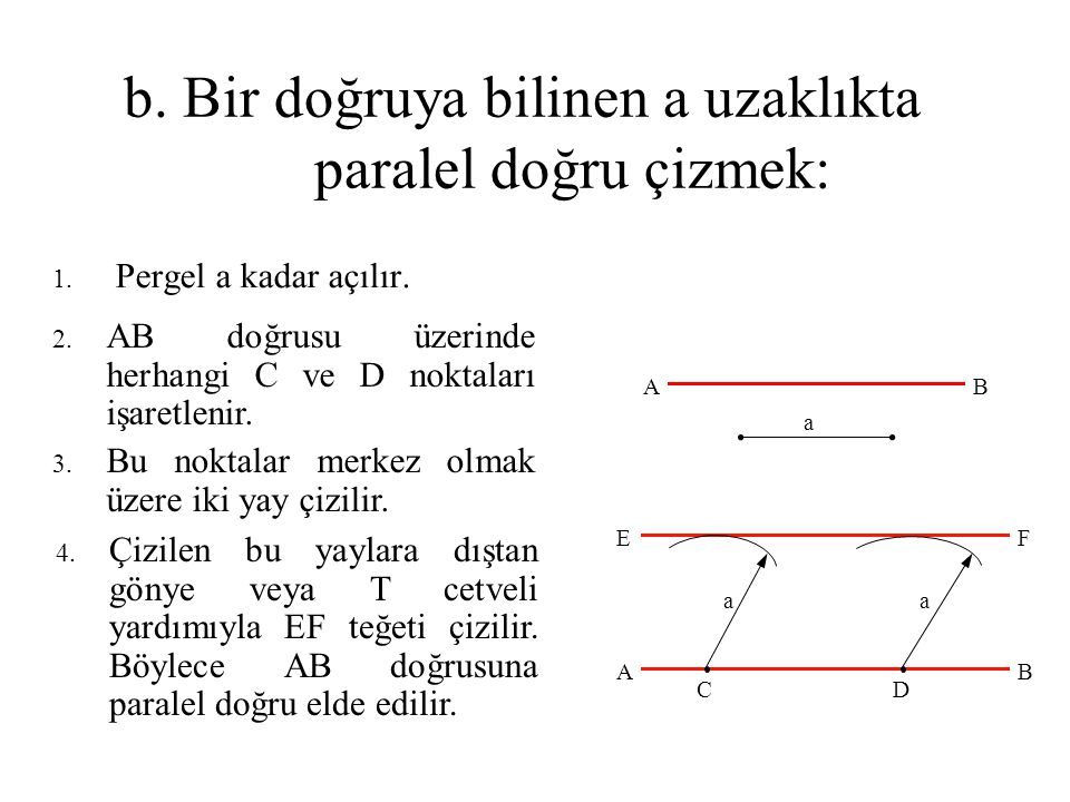 b. Bir doğruya bilinen a uzaklıkta paralel doğru çizmek: