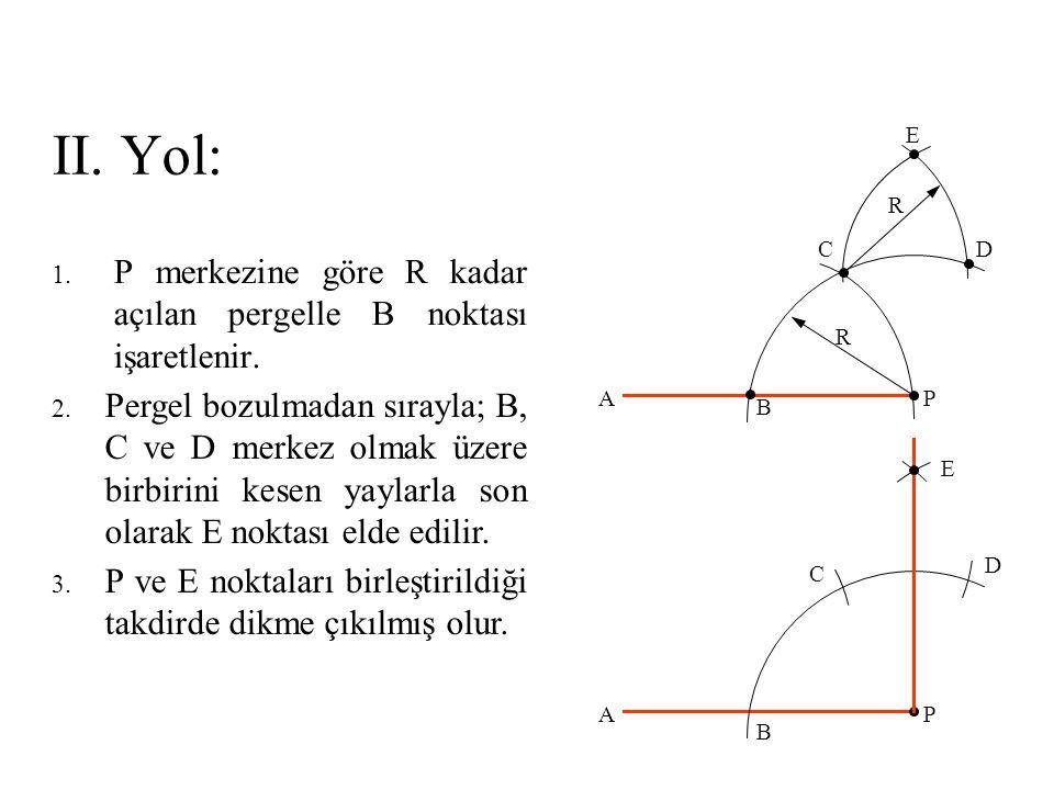 II. Yol: E. R. C. D. P merkezine göre R kadar açılan pergelle B noktası işaretlenir. R.