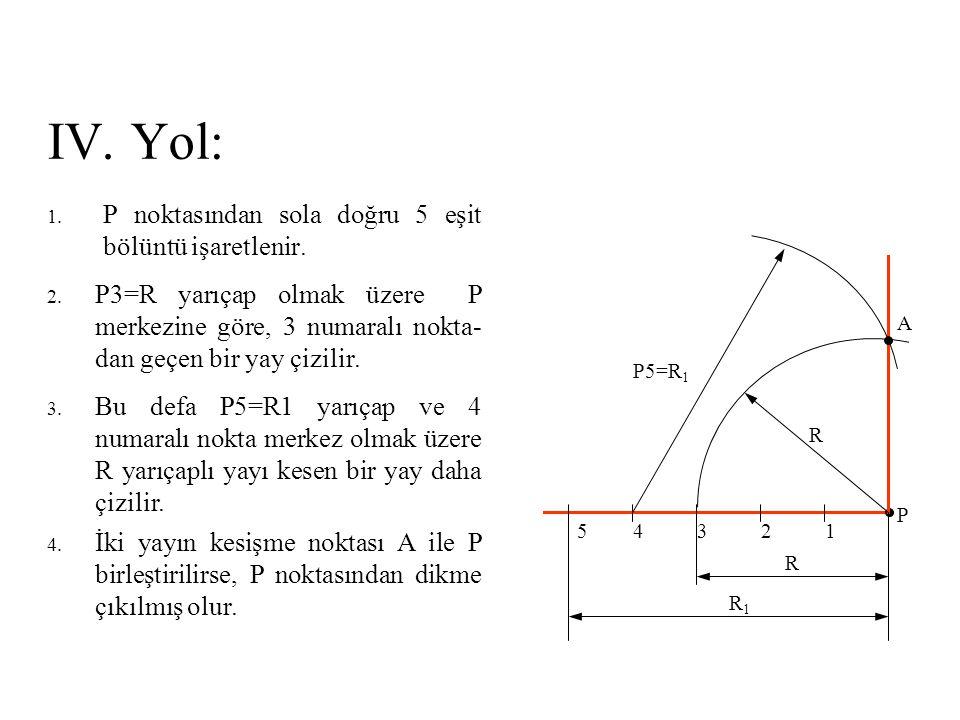 IV. Yol: P noktasından sola doğru 5 eşit bölüntü işaretlenir.