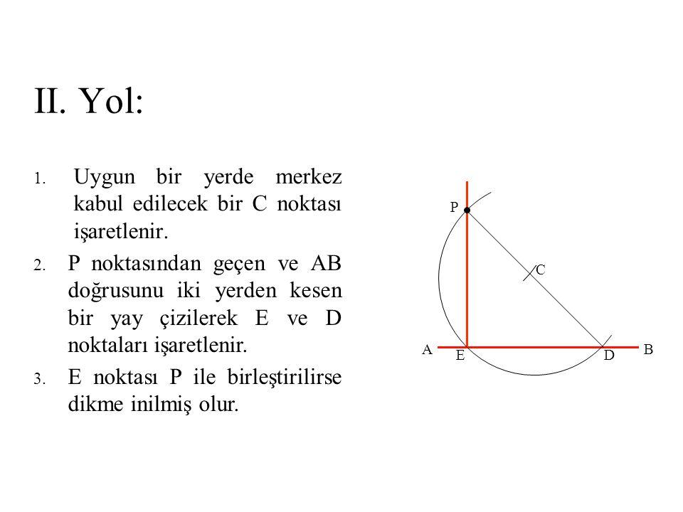 II. Yol: Uygun bir yerde merkez kabul edilecek bir C noktası işaretlenir. P.