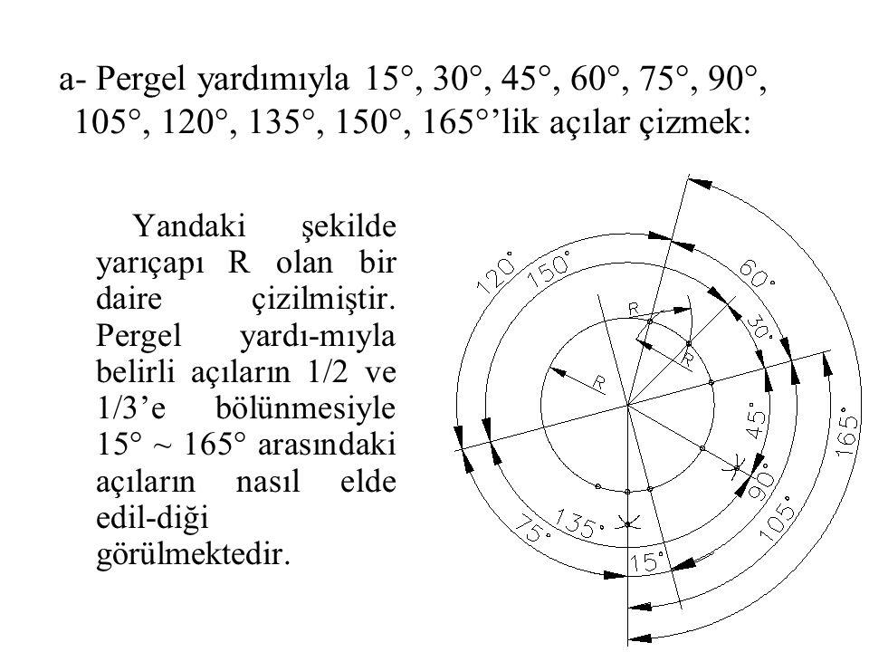 a- Pergel yardımıyla 15°, 30°, 45°, 60°, 75°, 90°, 105°, 120°, 135°, 150°, 165°'lik açılar çizmek: