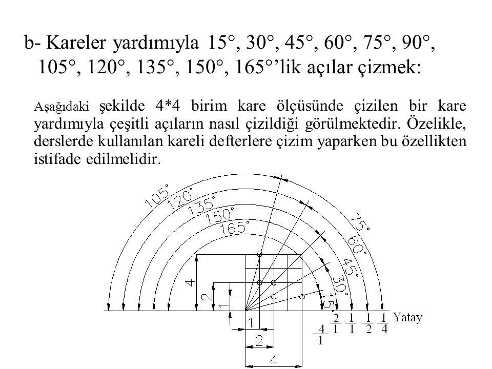 b- Kareler yardımıyla 15°, 30°, 45°, 60°, 75°, 90°, 105°, 120°, 135°, 150°, 165°'lik açılar çizmek: