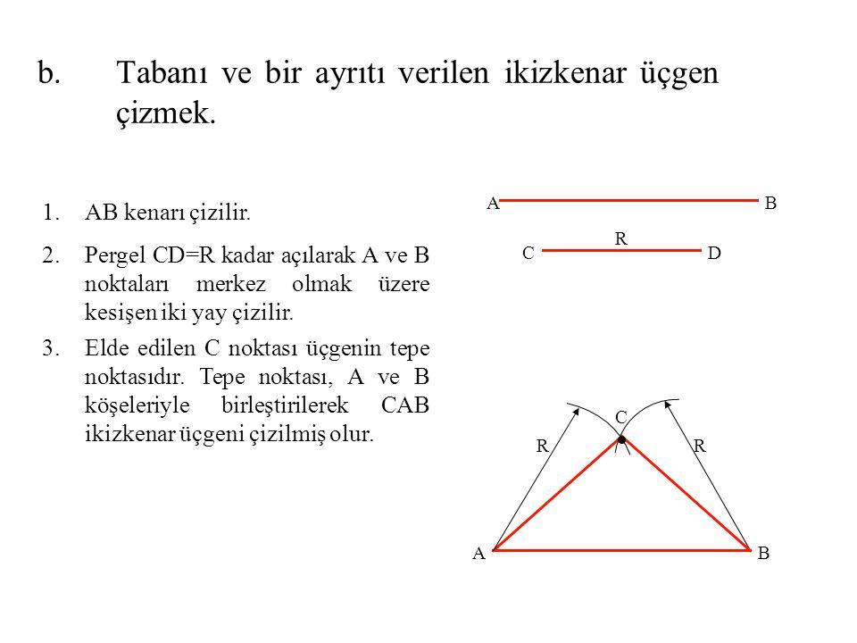 Tabanı ve bir ayrıtı verilen ikizkenar üçgen çizmek.