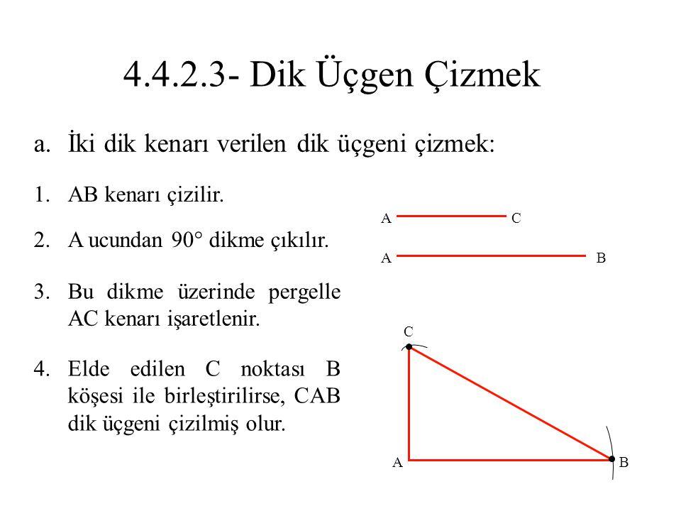4.4.2.3- Dik Üçgen Çizmek İki dik kenarı verilen dik üçgeni çizmek: