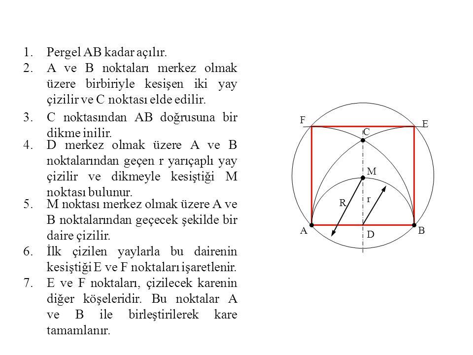 C noktasından AB doğrusuna bir dikme inilir.