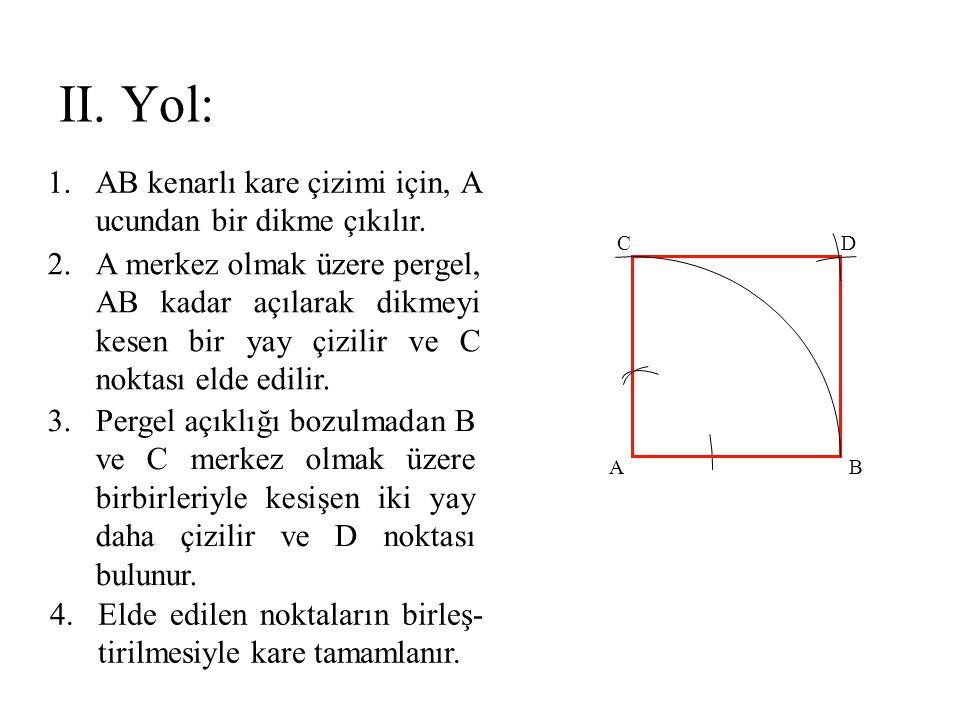 II. Yol: AB kenarlı kare çizimi için, A ucundan bir dikme çıkılır.