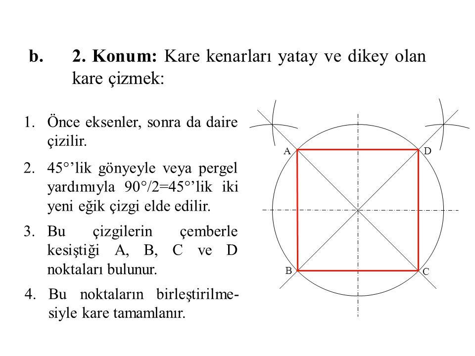 2. Konum: Kare kenarları yatay ve dikey olan kare çizmek: