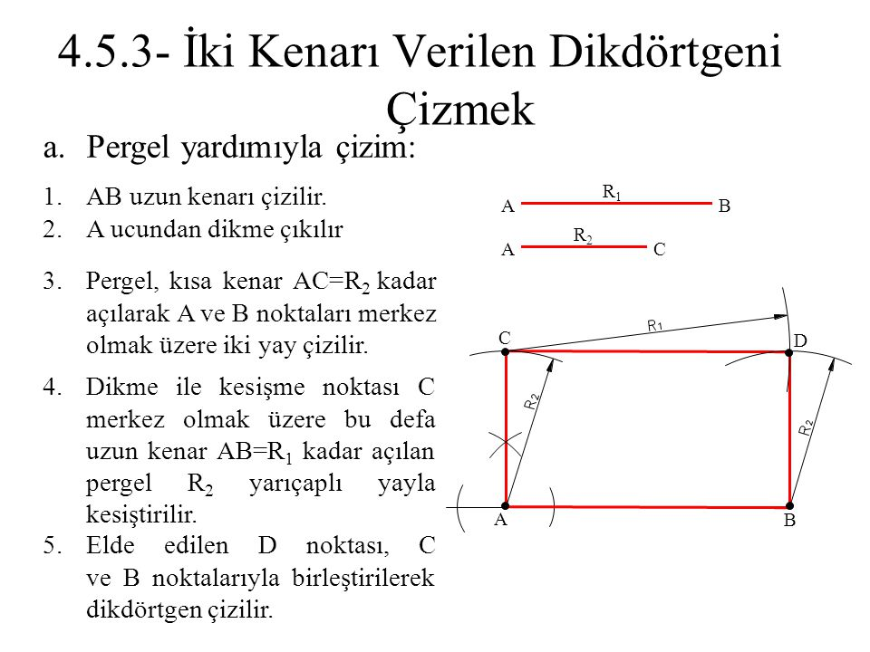 4.5.3- İki Kenarı Verilen Dikdörtgeni Çizmek
