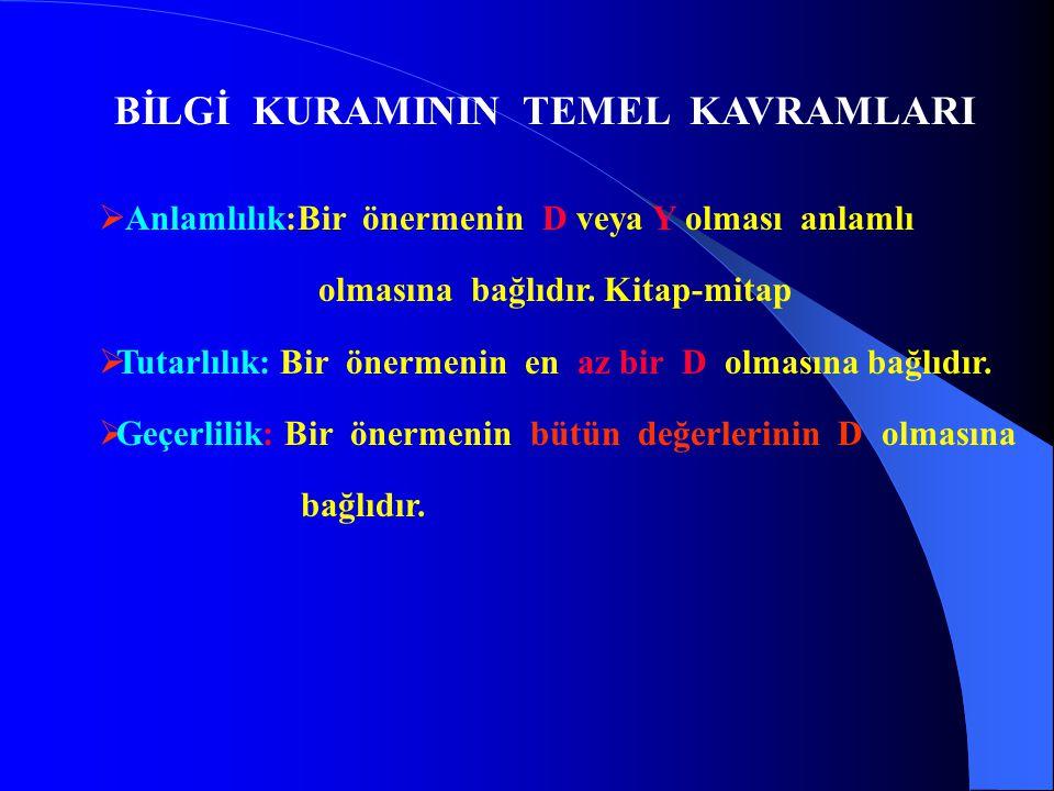 BİLGİ KURAMININ TEMEL KAVRAMLARI