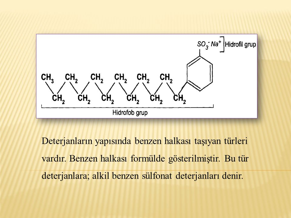 Deterjanların yapısında benzen halkası taşıyan türleri vardır