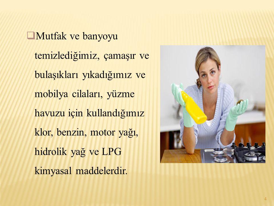 Mutfak ve banyoyu temizlediğimiz, çamaşır ve bulaşıkları yıkadığımız ve mobilya cilaları, yüzme havuzu için kullandığımız klor, benzin, motor yağı, hidrolik yağ ve LPG kimyasal maddelerdir.