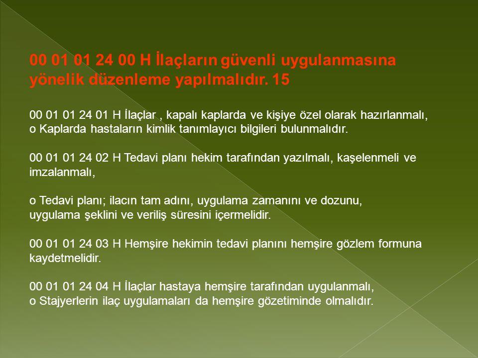 00 01 01 24 00 H İlaçların güvenli uygulanmasına yönelik düzenleme yapılmalıdır. 15
