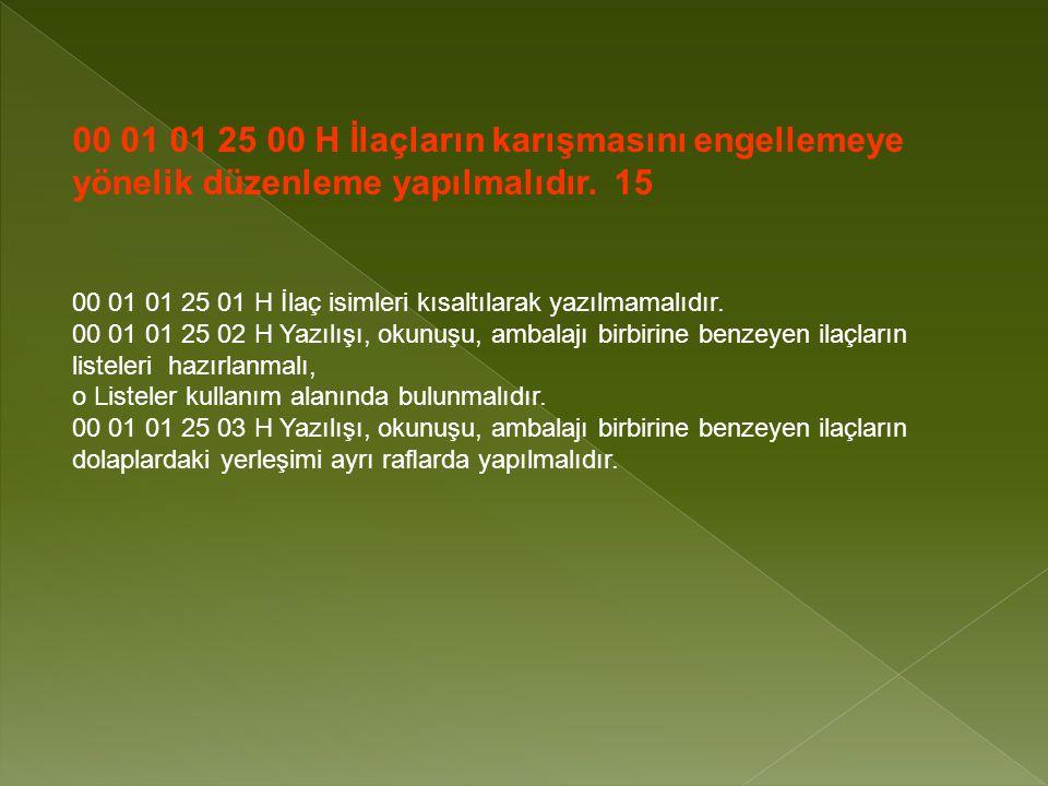00 01 01 25 00 H İlaçların karışmasını engellemeye yönelik düzenleme yapılmalıdır. 15