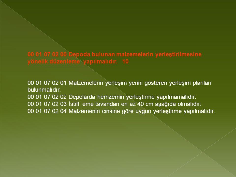 00 01 07 02 00 Depoda bulunan malzemelerin yerleştirilmesine yönelik düzenleme yapılmalıdır. 10