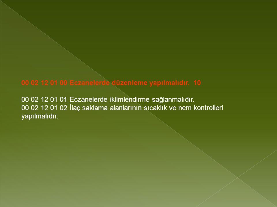 00 02 12 01 00 Eczanelerde düzenleme yapılmalıdır. 10