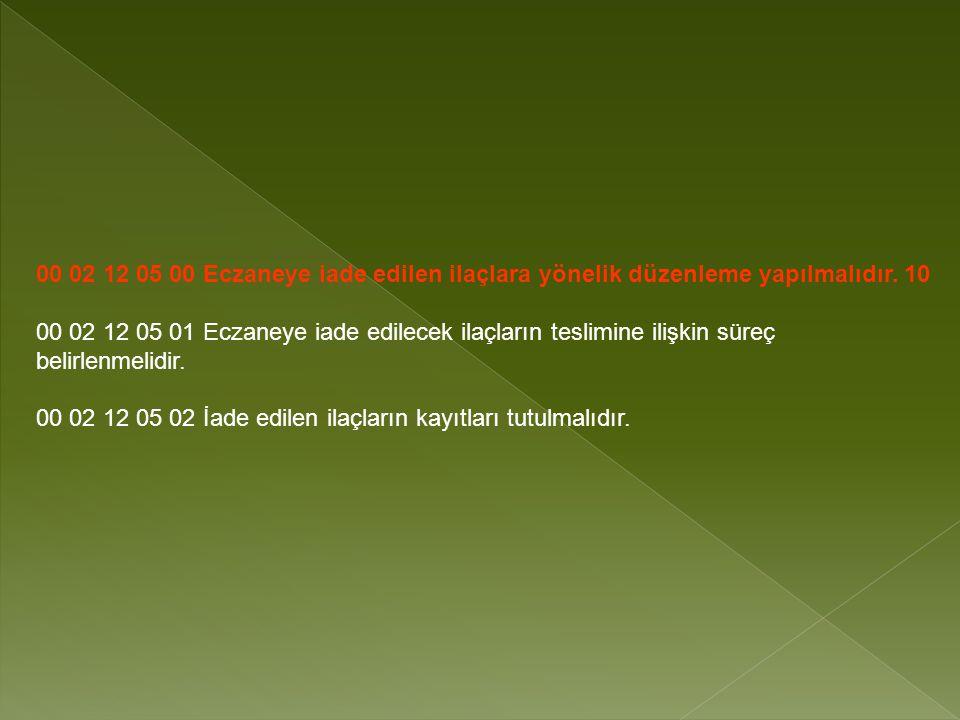 00 02 12 05 00 Eczaneye iade edilen ilaçlara yönelik düzenleme yapılmalıdır. 10