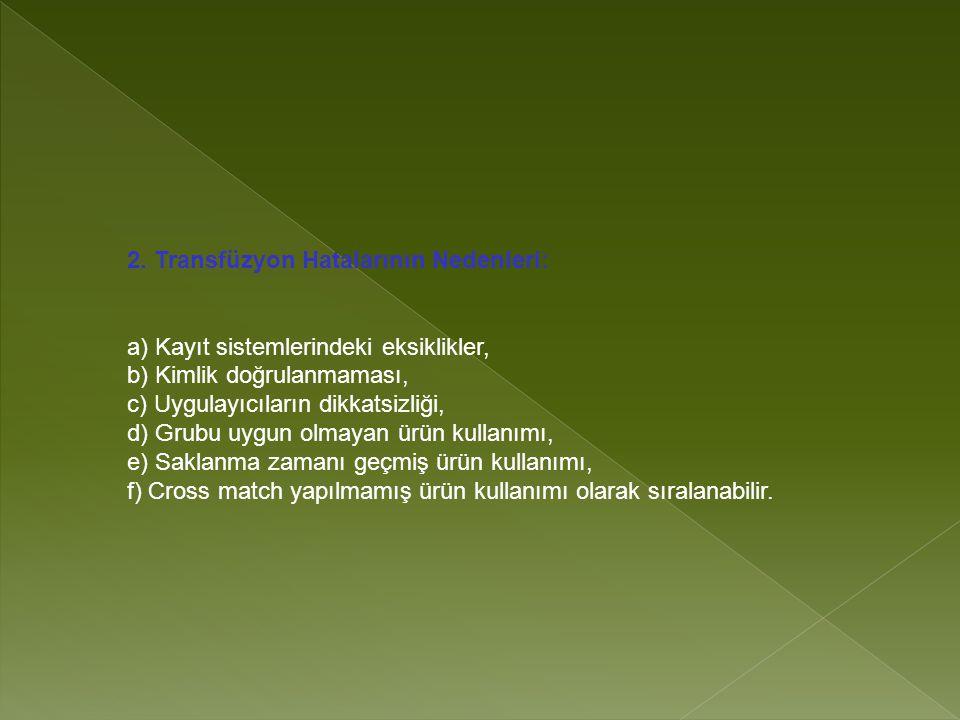 2. Transfüzyon Hatalarının Nedenleri: