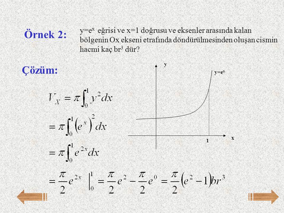 y=ex eğrisi ve x=1 doğrusu ve eksenler arasında kalan bölgenin Ox ekseni etrafında döndürülmesinden oluşan cismin hacmi kaç br3 dür