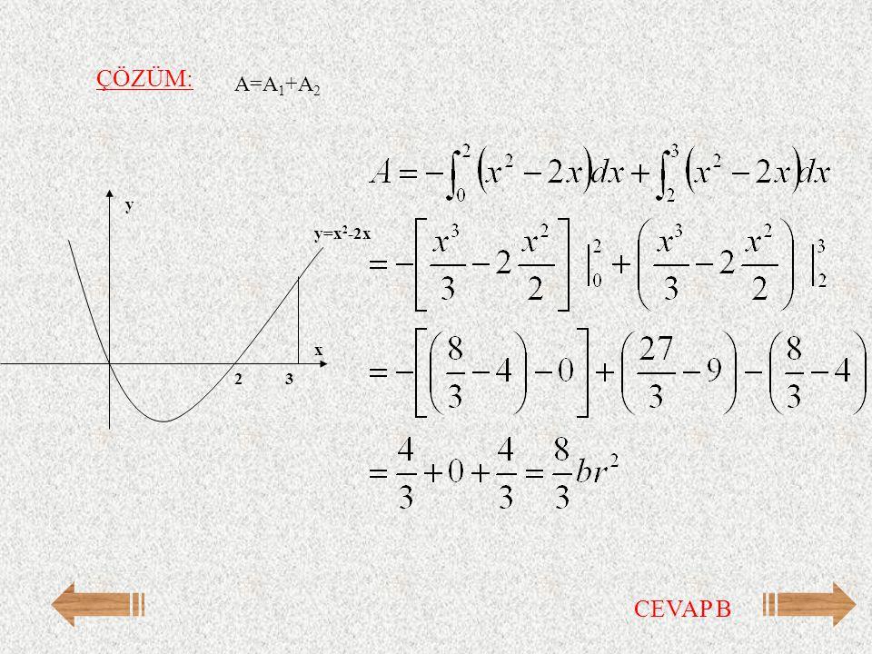 ÇÖZÜM: A=A1+A2 y=x2-2x y x 3 2 CEVAP B