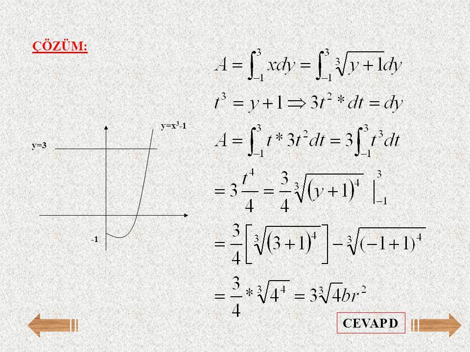 ÇÖZÜM: -1 y=3 y=x3-1 CEVAP D