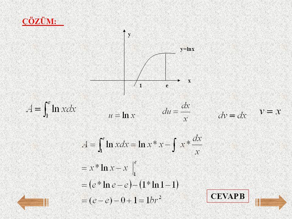 ÇÖZÜM: e 1 y=lnx y x CEVAP B
